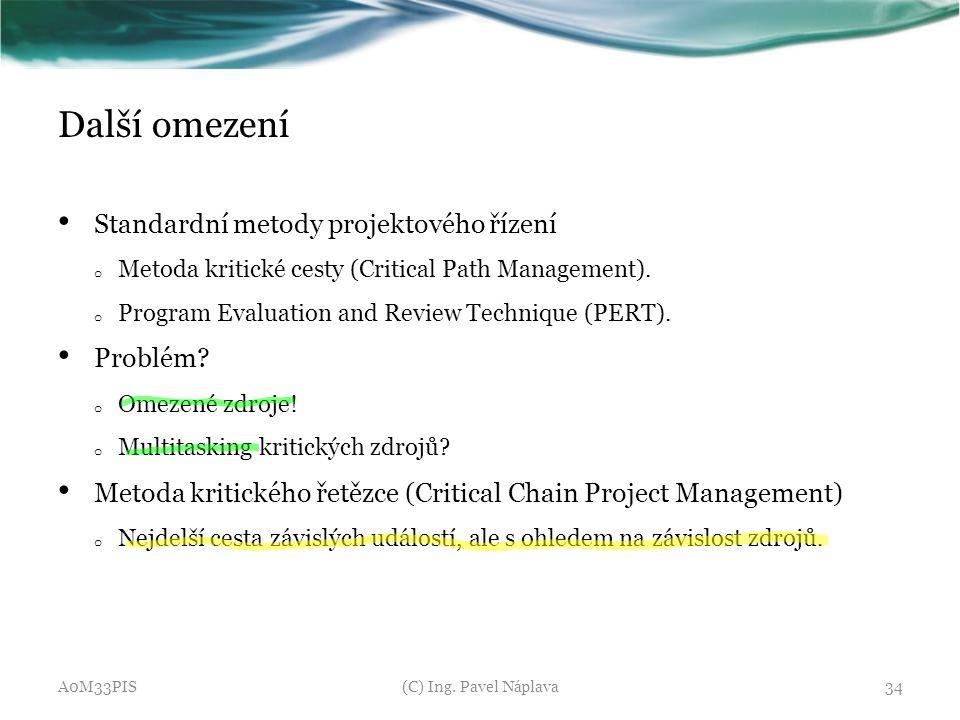 Další omezení Standardní metody projektového řízení Problém