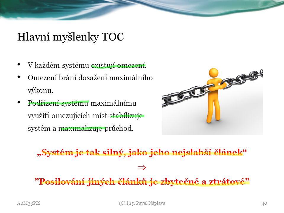 """Hlavní myšlenky TOC """"Systém je tak silný, jako jeho nejslabší článek"""