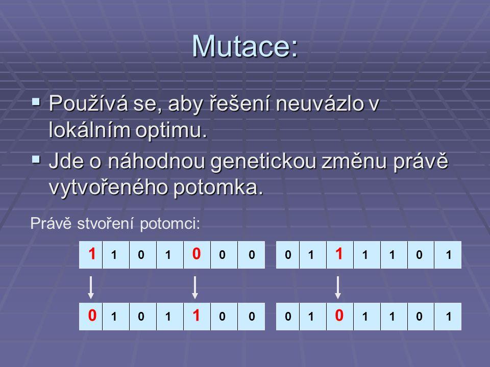 Mutace: Používá se, aby řešení neuvázlo v lokálním optimu.