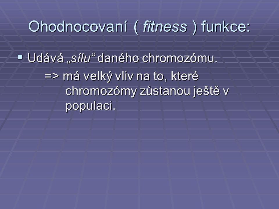 Ohodnocovaní ( fitness ) funkce: