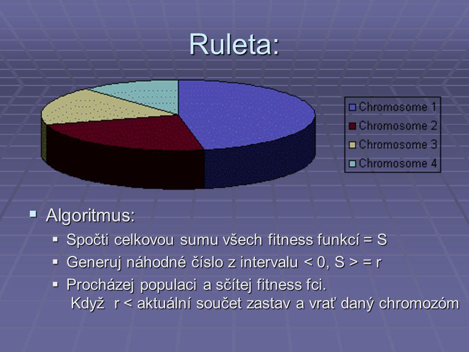 Ruleta: Algoritmus: Spočti celkovou sumu všech fitness funkcí = S