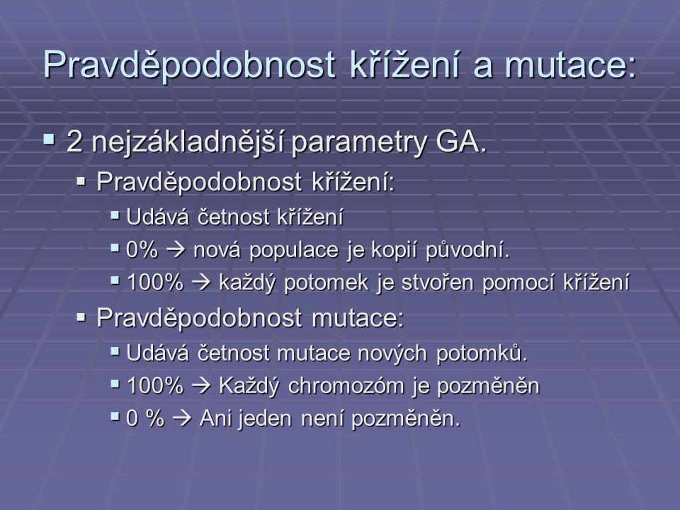 Pravděpodobnost křížení a mutace:
