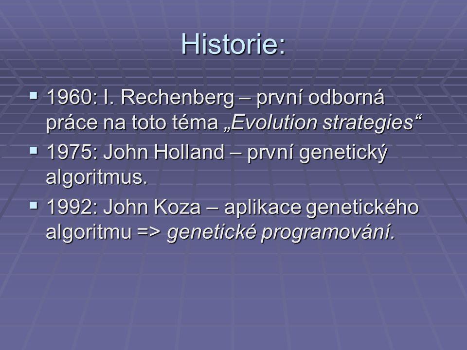 """Historie: 1960: I. Rechenberg – první odborná práce na toto téma """"Evolution strategies 1975: John Holland – první genetický algoritmus."""