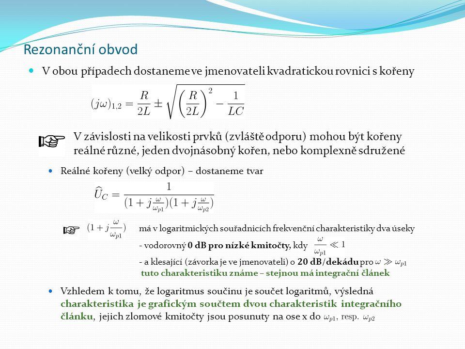 Rezonanční obvod V obou případech dostaneme ve jmenovateli kvadratickou rovnici s kořeny. Reálné kořeny (velký odpor) – dostaneme tvar.