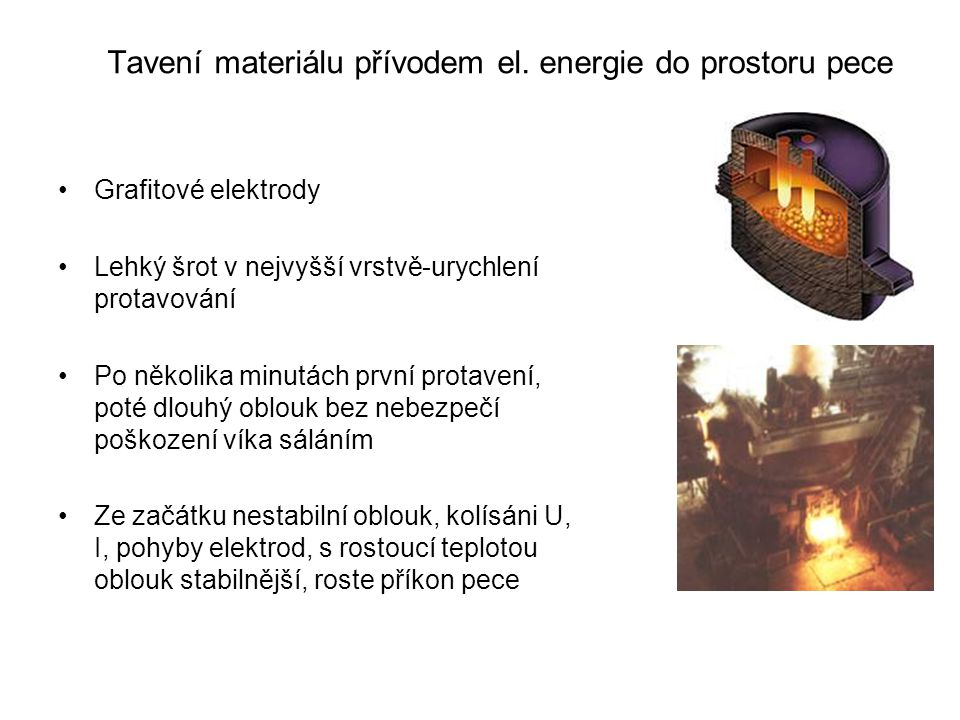 Tavení materiálu přívodem el. energie do prostoru pece