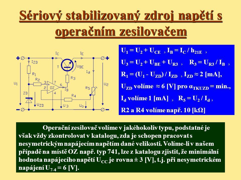 Sériový stabilizovaný zdroj napětí s operačním zesilovačem