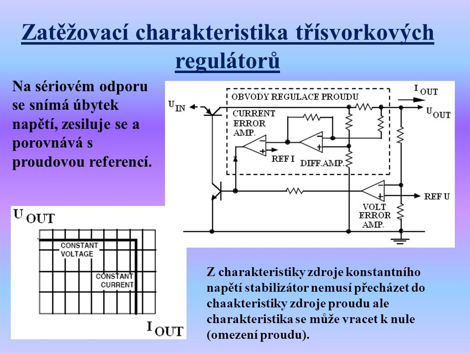 Zatěžovací charakteristika třísvorkových regulátorů