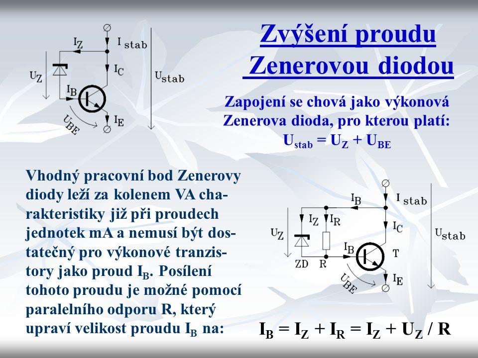 Zvýšení proudu Zenerovou diodou