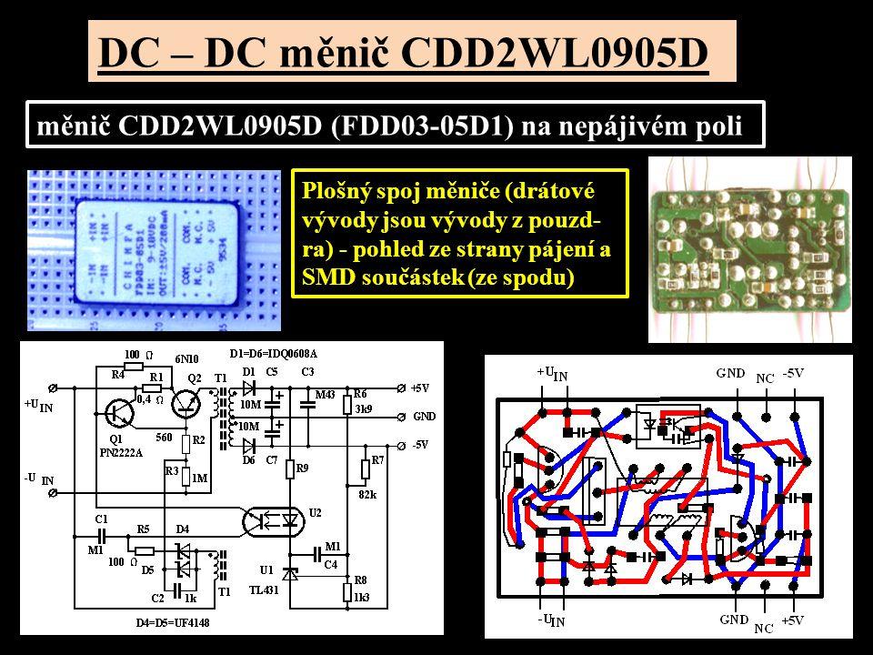 DC – DC měnič CDD2WL0905D měnič CDD2WL0905D (FDD03-05D1) na nepájivém poli.