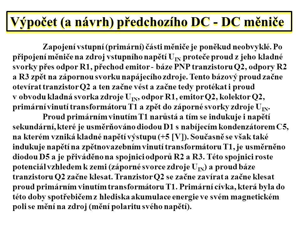 Výpočet (a návrh) předchozího DC - DC měniče