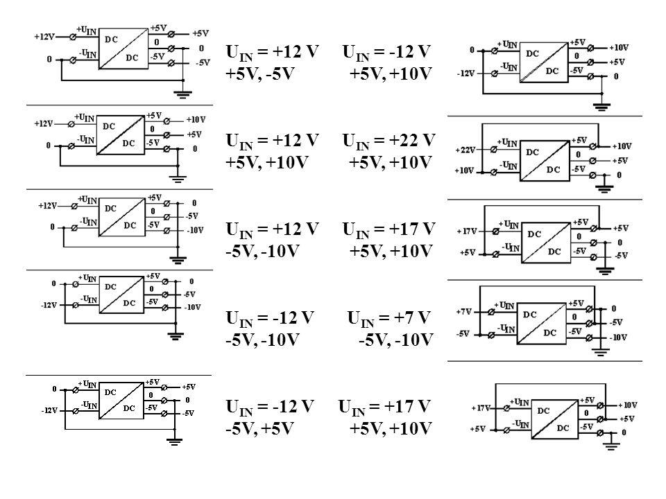 UIN = +12 V UIN = -12 V +5V, -5V +5V, +10V. UIN = +12 V UIN = +22 V. +5V, +10V +5V, +10V.