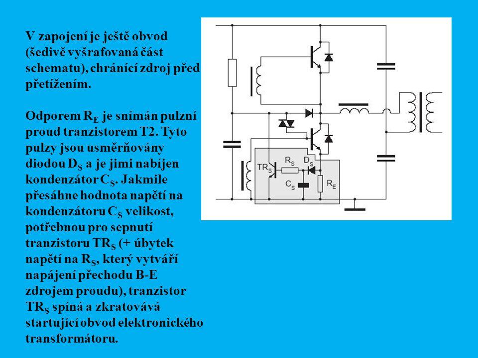 V zapojení je ještě obvod (šedivě vyšrafovaná část schematu), chránící zdroj před přetížením.