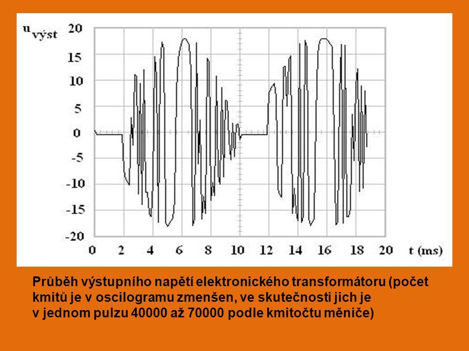 Průběh výstupního napětí elektronického transformátoru (počet kmitů je v oscilogramu zmenšen, ve skutečnosti jich je v jednom pulzu 40000 až 70000 podle kmitočtu měniče)