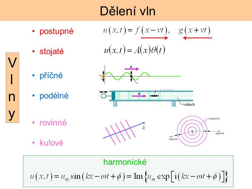 Vlny Dělení vln postupné stojaté příčné podélné rovinné kulové
