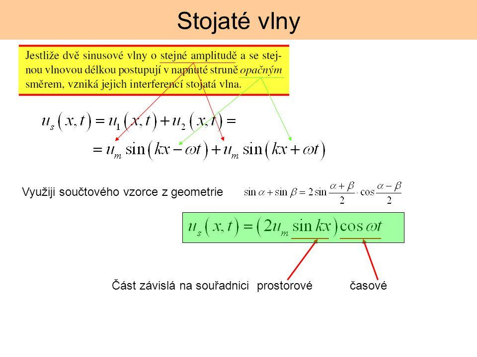 Stojaté vlny Využiji součtového vzorce z geometrie