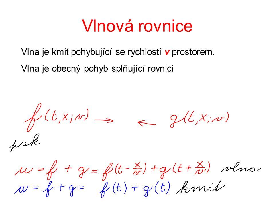 Vlnová rovnice Vlna je kmit pohybující se rychlostí v prostorem.