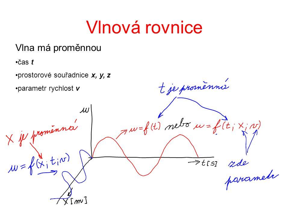 Vlnová rovnice Vlna má proměnnou čas t prostorové souřadnice x, y, z