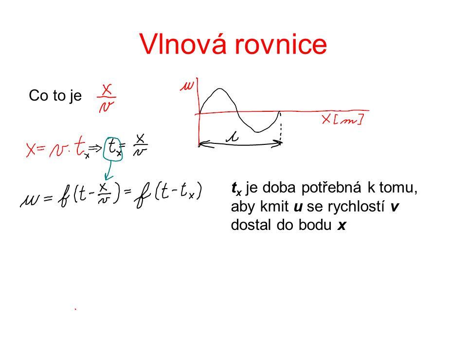 Vlnová rovnice Co to je tx je doba potřebná k tomu, aby kmit u se rychlostí v dostal do bodu x