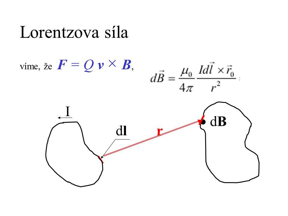 Lorentzova síla víme, že F = Q v × B, I  dB dl r