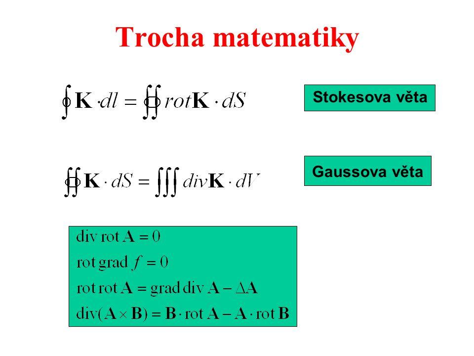 Trocha matematiky Stokesova věta Gaussova věta