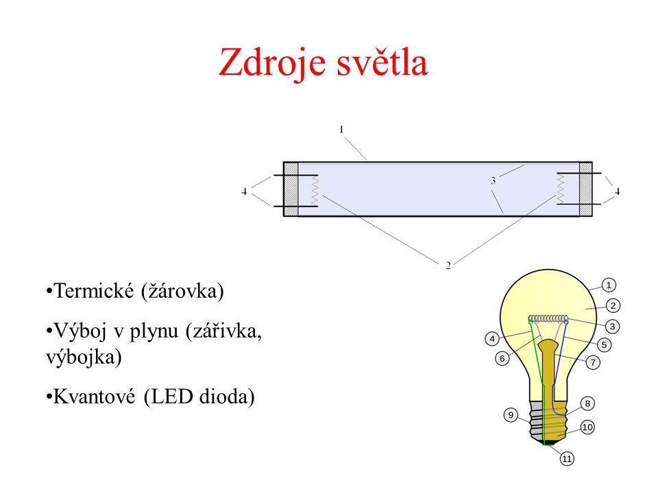 Zdroje světla Termické (žárovka) Výboj v plynu (zářivka, výbojka)