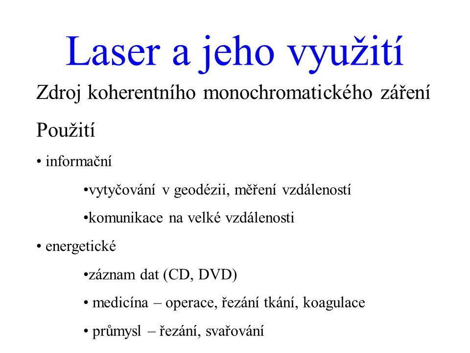 Laser a jeho využití Zdroj koherentního monochromatického záření