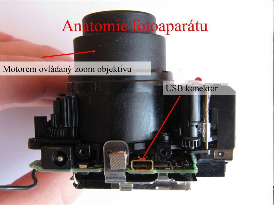 Anatomie fotoaparátu Motorem ovládaný zoom objektivu USB konektor