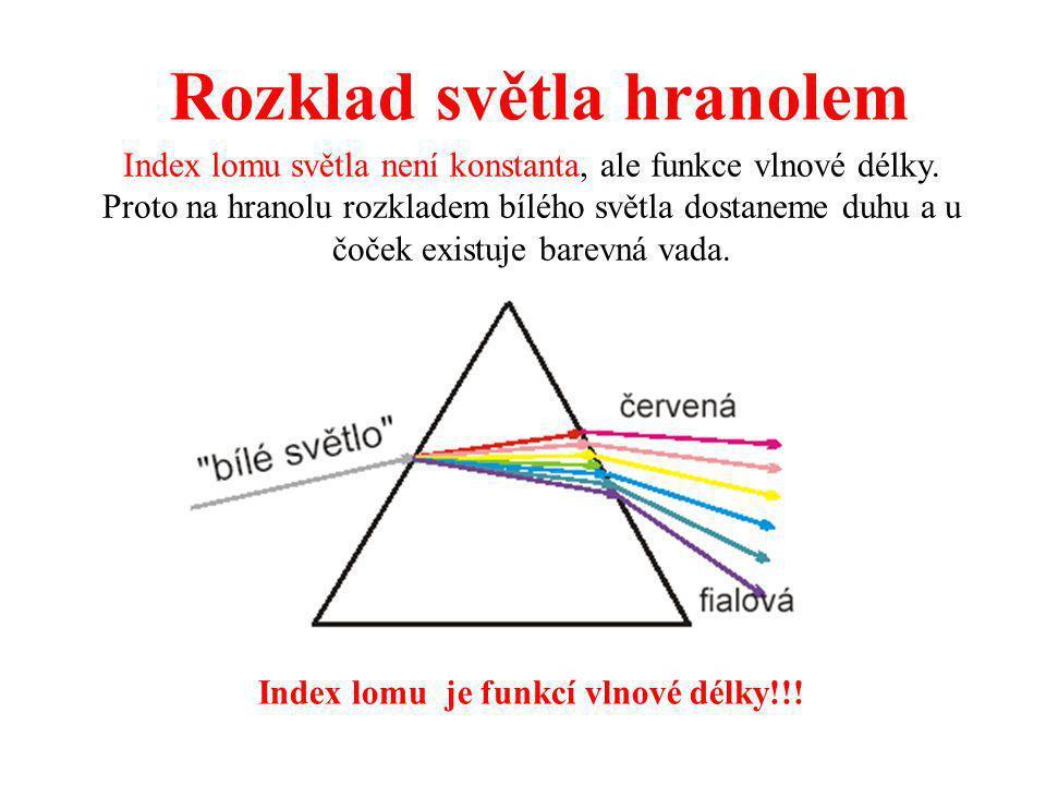 Rozklad světla hranolem Index lomu je funkcí vlnové délky!!!