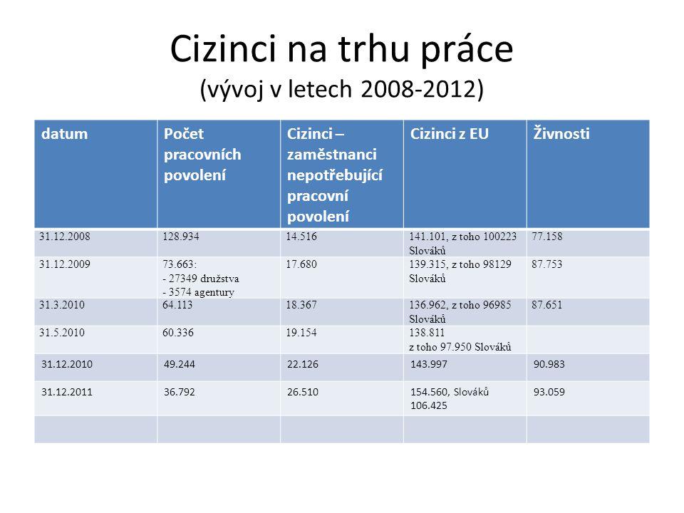 Cizinci na trhu práce (vývoj v letech 2008-2012)