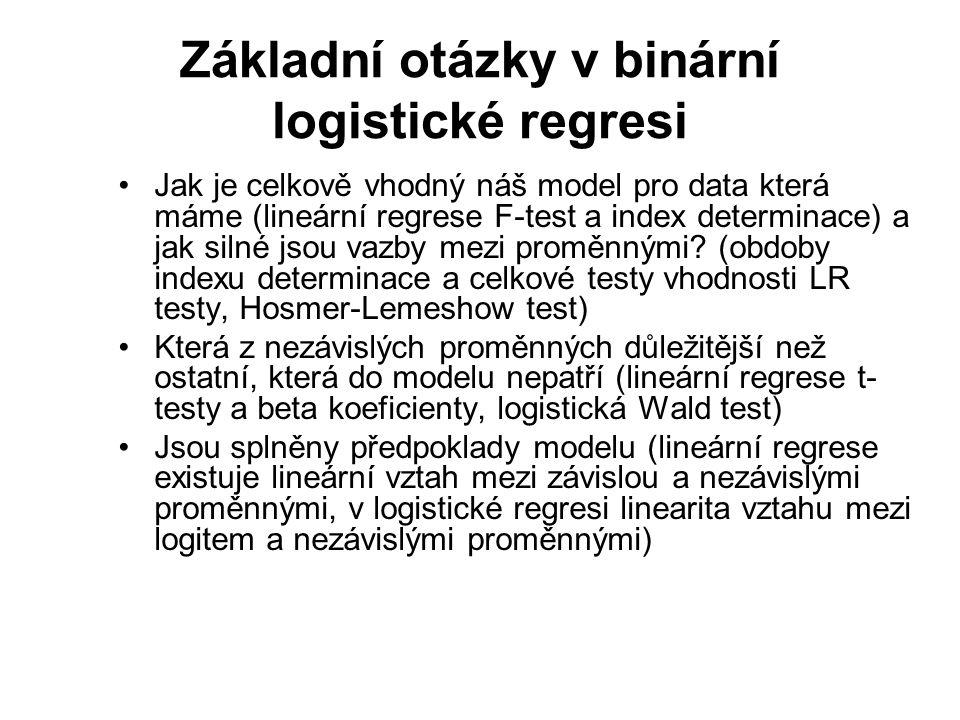 Základní otázky v binární logistické regresi