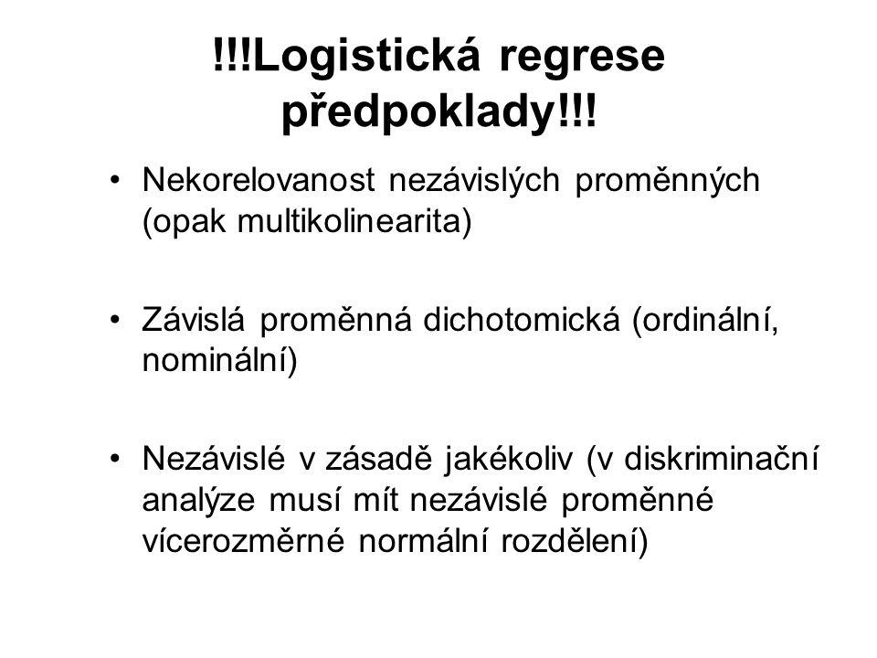 !!!Logistická regrese předpoklady!!!