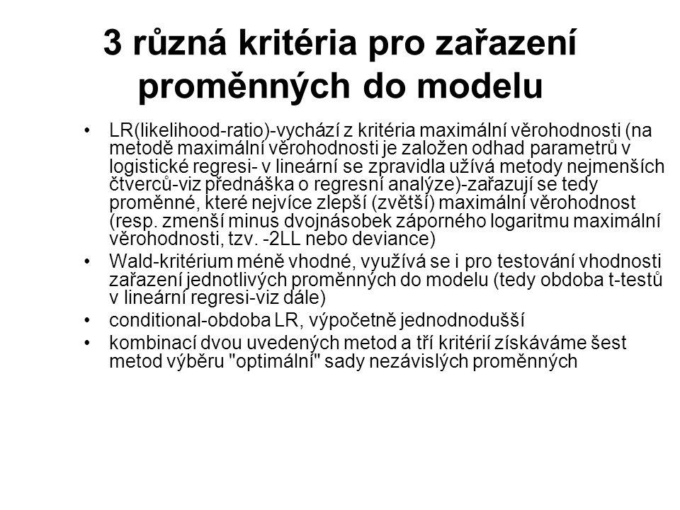 3 různá kritéria pro zařazení proměnných do modelu