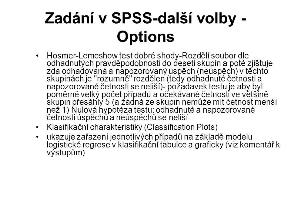 Zadání v SPSS-další volby - Options