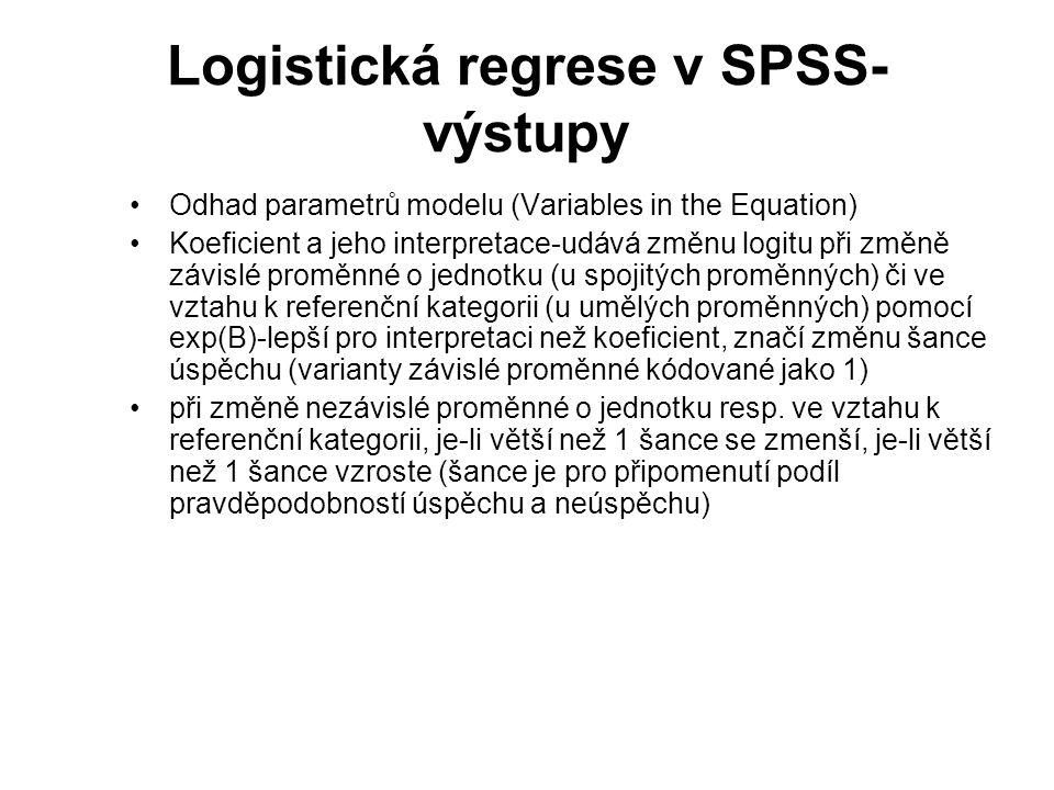 Logistická regrese v SPSS-výstupy