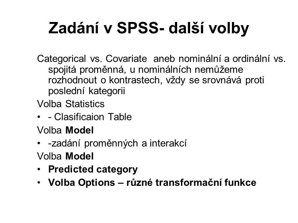 Zadání v SPSS- další volby