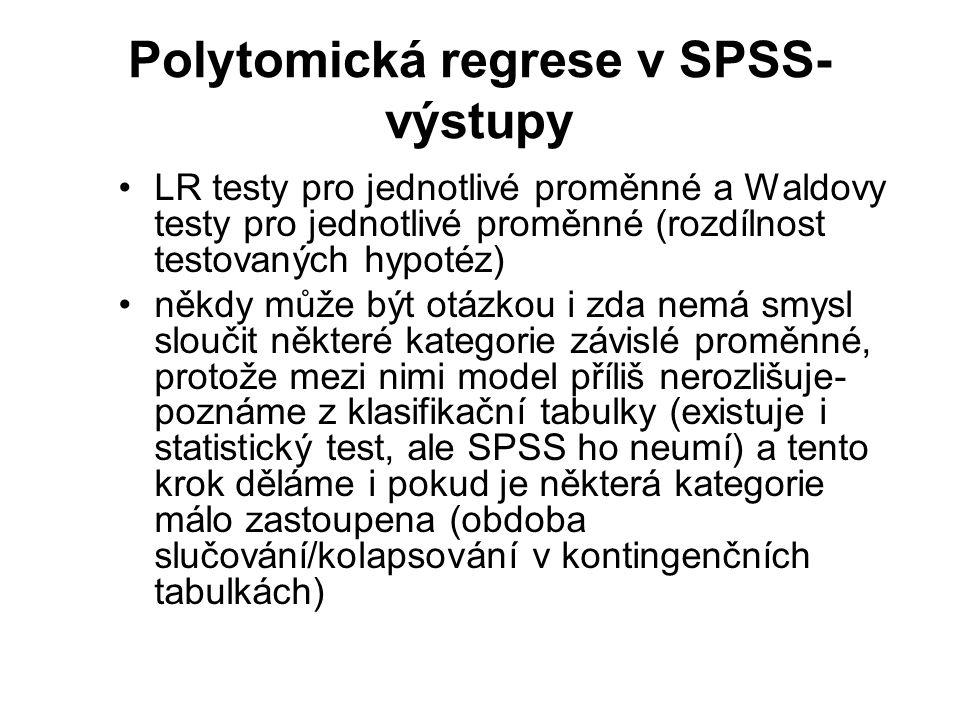 Polytomická regrese v SPSS-výstupy