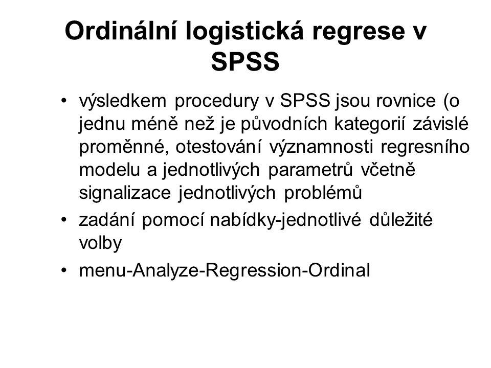 Ordinální logistická regrese v SPSS
