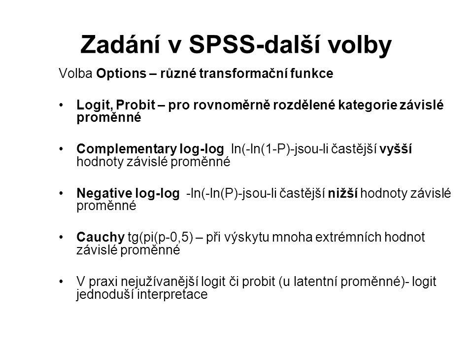 Zadání v SPSS-další volby