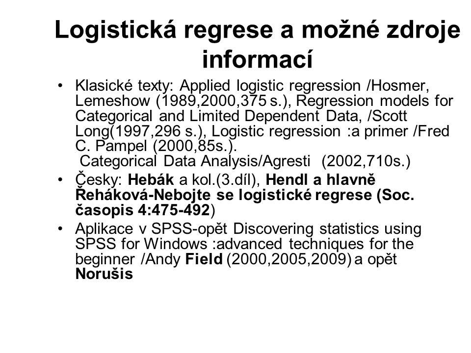 Logistická regrese a možné zdroje informací