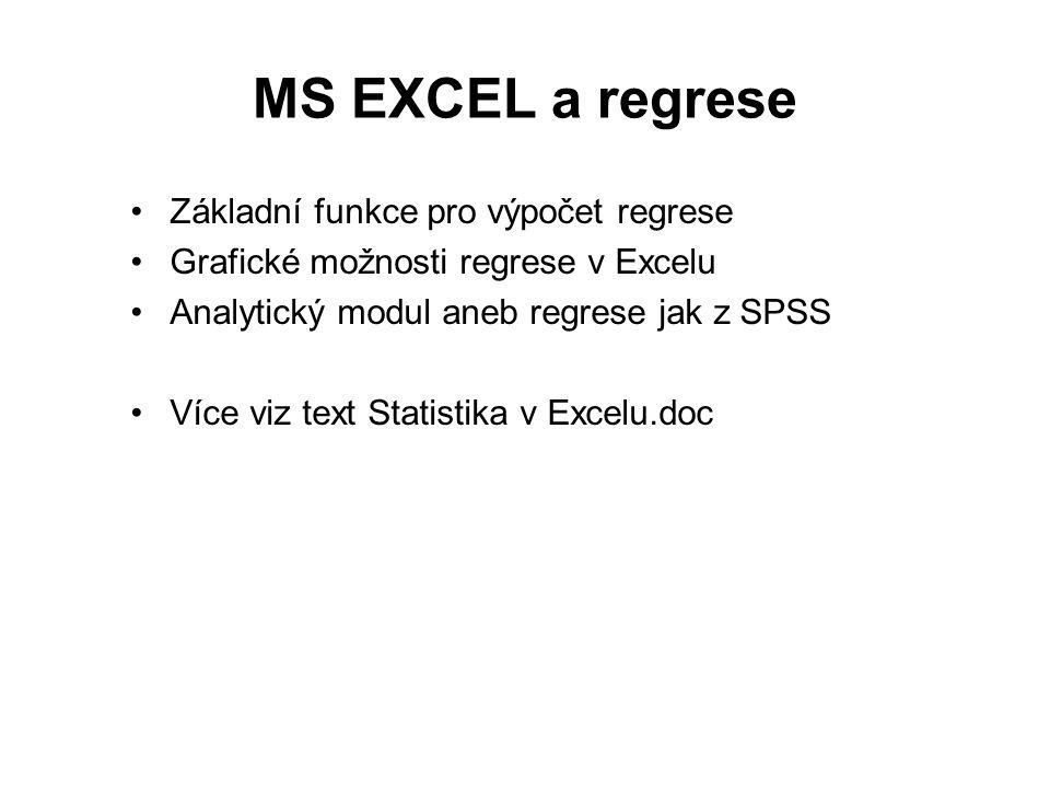 MS EXCEL a regrese Základní funkce pro výpočet regrese