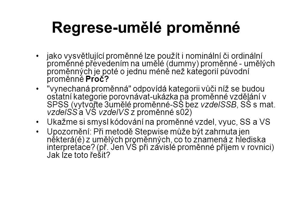 Regrese-umělé proměnné