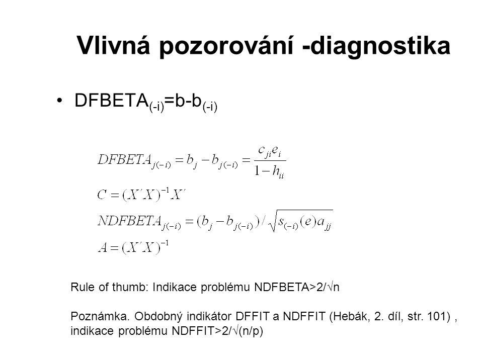 Vlivná pozorování -diagnostika
