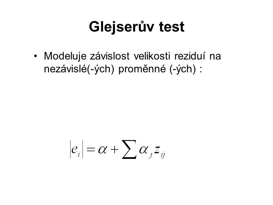 Glejserův test Modeluje závislost velikosti reziduí na nezávislé(-ých) proměnné (-ých) :