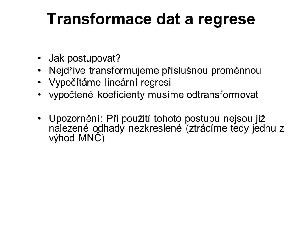 Transformace dat a regrese