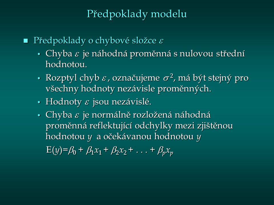 Předpoklady modelu Předpoklady o chybové složce 