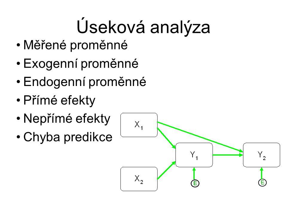 Úseková analýza Měřené proměnné Exogenní proměnné Endogenní proměnné