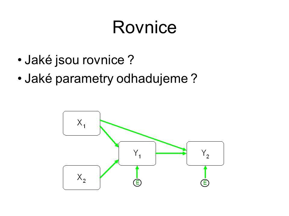 Rovnice Jaké jsou rovnice Jaké parametry odhadujeme E