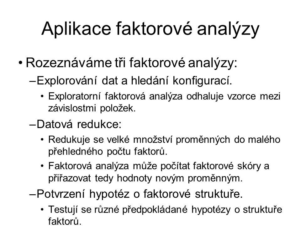 Aplikace faktorové analýzy