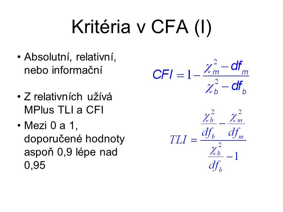 Kritéria v CFA (I) Absolutní, relativní, nebo informační