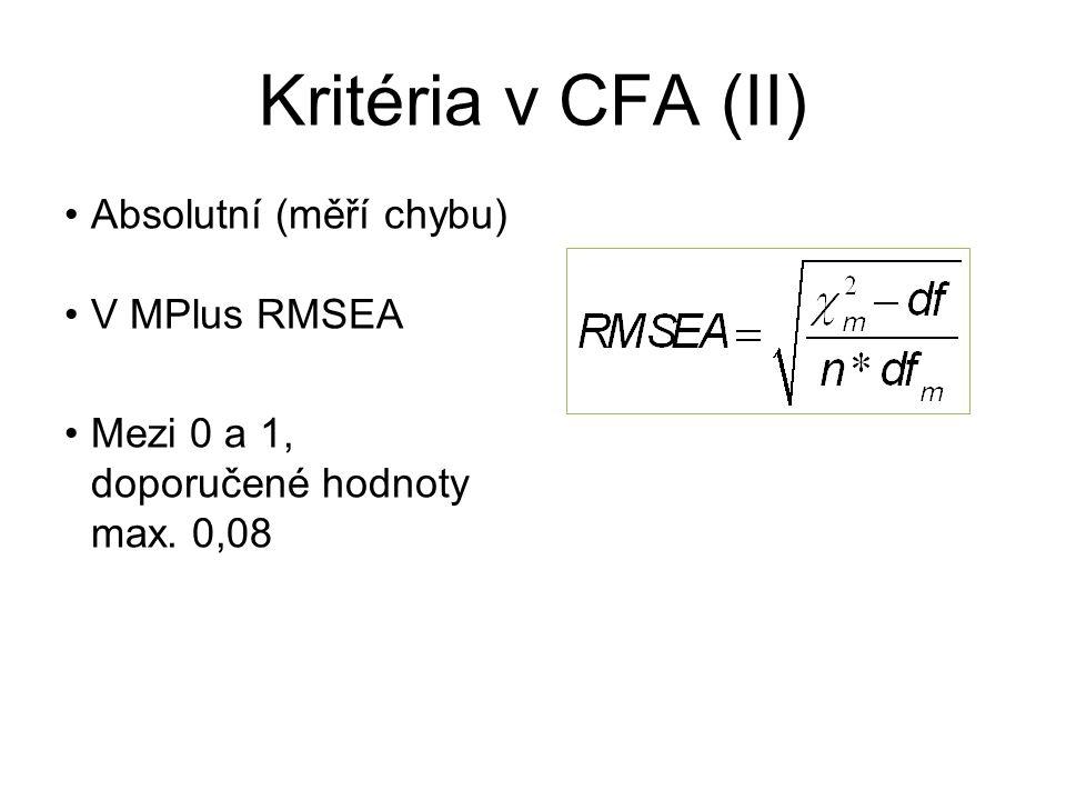 Kritéria v CFA (II) Absolutní (měří chybu) V MPlus RMSEA